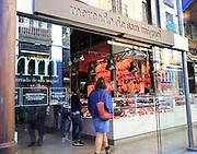 Mercado de San Miguel market historic building exterior entrance doorway, Madrid city centre, Spain