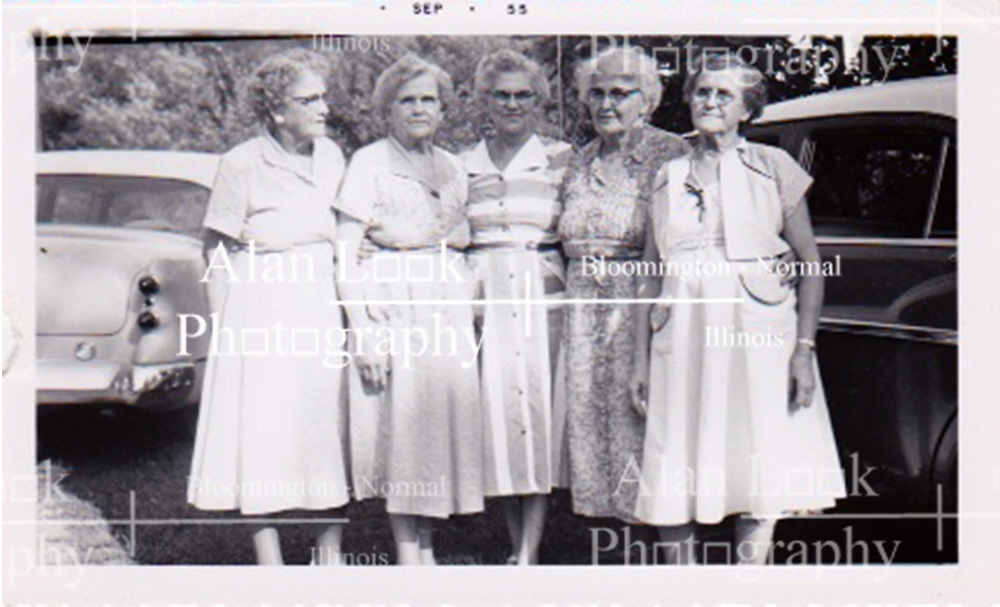 Image of the daughters of Jesse Clinton Shirley and Mary Lenora Hammond Shirley taken in (or at least processed in) September 1955.  Branch 6 of the Shirleys were prominent in the Kewanee township and town in Henry County Illinois.<br /> <br /> Left to Right: Mary, Bessie, Stell, Gertrude, ?