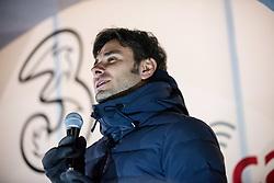February 5, 2018 - Savigliano, Piedmont/Cuneo, Italy - Alessandro Di Battista of Movimento 5 Stelle talks during  the electoral campaign 2018 in Savigliano. (Credit Image: © Alberto Gandolfo/Pacific Press via ZUMA Wire)