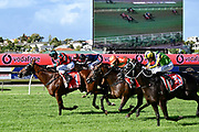 Craig Grylls (No. 1) on Rocket Spade leading Race 9, Vodafone NZ Derby (G1) 2400.<br /> Vodafone Derby Day at Ellerslie Race Course, Auckland on Sunday 7th March 2021 during lockdown level 2.<br /> Copyright photo: Alan Lee / www.photosport.nz