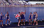 2000  Sydney Olympic Games, Olympic Rowing Regatta, Penrith Lakes, Penrith, Sydney,AUSTRALIA,  © Peter Spurrier Sports Photo Tel 44 (0) 7973 819 551 GBR M8+ heats and Finals, e-mail pictures @rowingpics.com.. 2000 Olympic Regatta Sydney International Regatta Centre (SIRC) 2000 Olympic Rowing Regatta00085138.tif