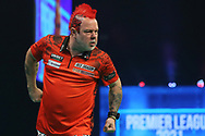 Peter Wright celebrates hitting a 180 during the PDC Unibet Premier League darts at Marshall Arena, Milton Keynes, United Kingdom on 24 May 2021.