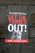 Anti Tory poster on the floor during the March for Homes demonstration on 31st January 2015 in South London, United Kingdom. March for homes is a campaign group which demand solutions to the housing crisis and better housing for Londoners.
