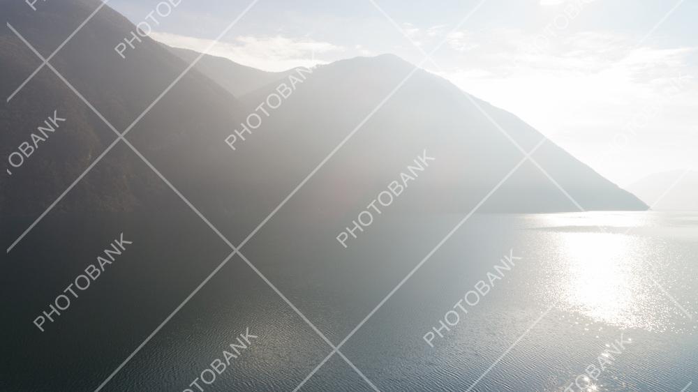 Landscape of Lake Lugano near Gandria