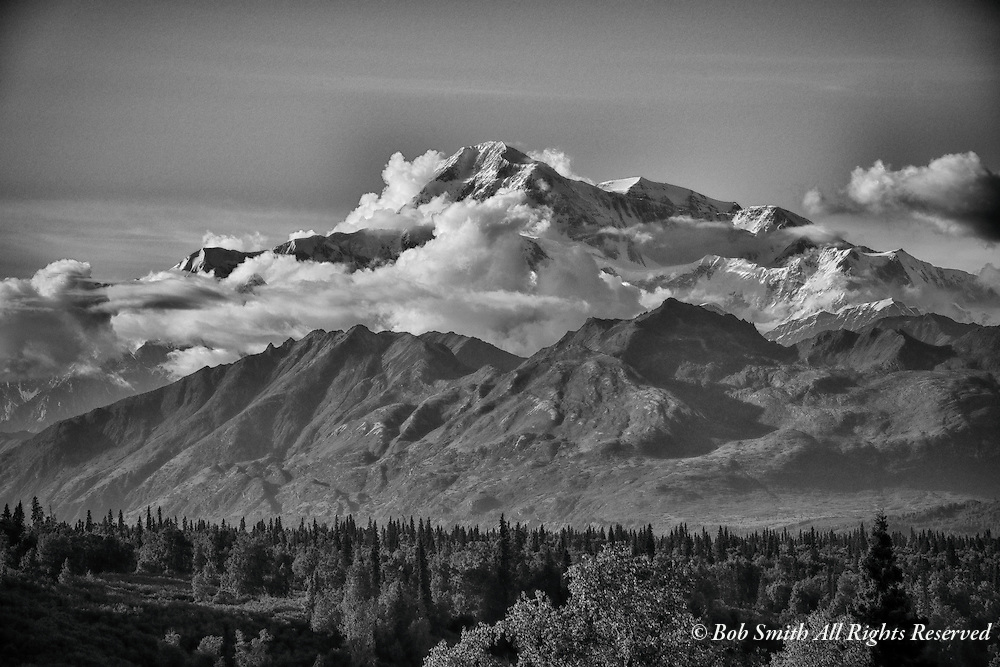 Black and white view of Denali from south Denali State Park, Alaska