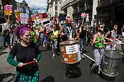 Peoples Assembly demonstration: No More Austerity - No To Racism - Tories Must Go, onSaturday July 16th in London, United Kingdom. Tens of thousands of people gathered to protest in a march through the capital protesting against the Conservative Party cuts. Almost 150Councillors fromacross the countryhave signed a letter criticising the Government for funding cuts and and will be joining those marching in London. The letter followed the recent budget in which the Government laid out plans to cut support for disabled people while offering tax breaks for big business and the wealthy.