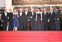Martin Katz, Emily Hampshire, Sarah Gadon, David Cronenberg, Robert Pattinson, Juliette Binoche, Paul Giamatti, Don Dellilo, Paulo Branco at the Cosmopolis gala screening at the 65th Cannes Film Festival France. Cosmopolis is directed by David Cronenberg and based on the book by writer Don Dellilo.  Friday 25th May 2012 in Cannes Film Festival, France.