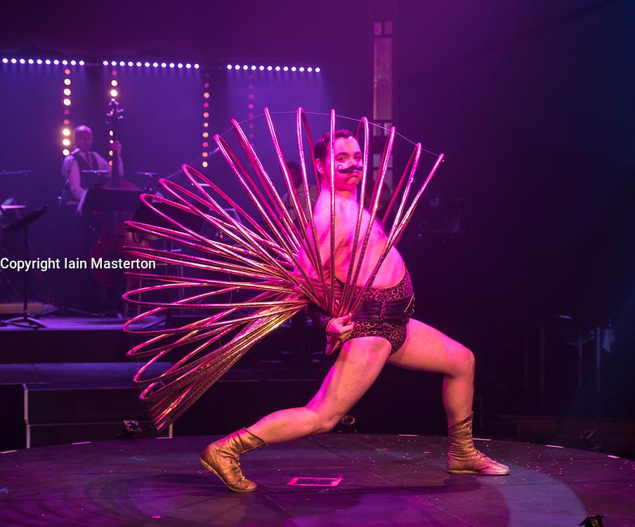 Edinburgh, Scotland, United Kingdom. 21November, 2017. Cabaret group Le Clique present their Christmas show Le Clique Noel at the Spiegeltent in Edinburgh as part of the city's annual Christmas festivities. Craig Reid performs with  his Hula Hoops.