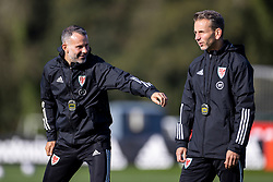 CARDIFF, WALES - Wednesday, October 7, 2020: Wales' manager Ryan Giggs (L) and assistant coach Albert Stuivenberg during a training session at the Vale Resort ahead of the International Friendly match against England. (Pic by David Rawcliffe/Propaganda)