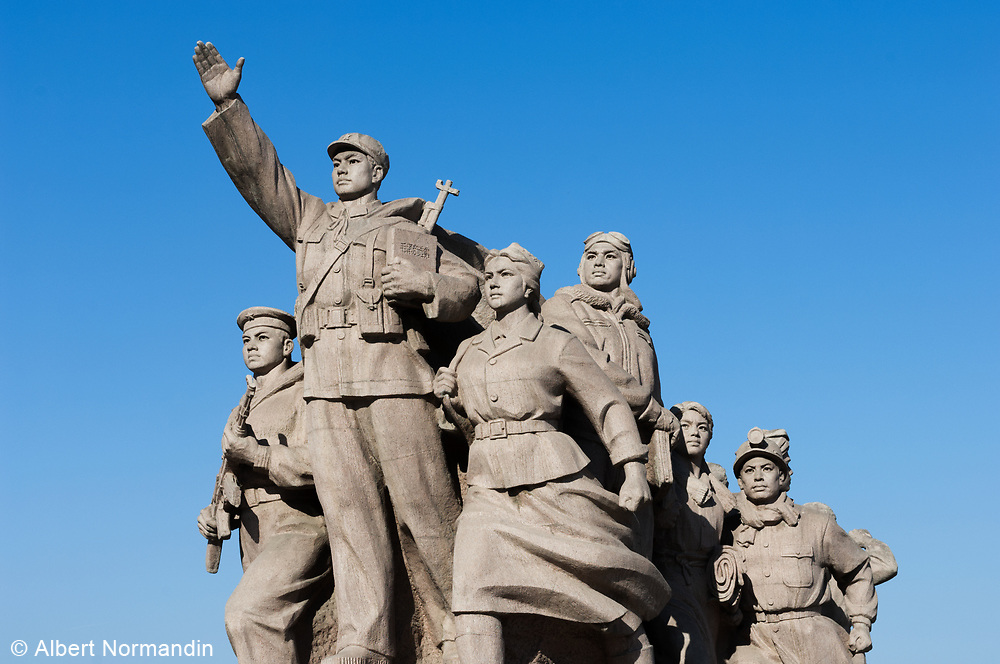 Social realist statue in front of Mao Zedong's Mausoleum, Tiananmen Square, Beijing, China