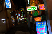 Illuminated signs for love hotels or fashion hotels as they in Asakusa, Tokyo, Japan. Friday, January 10th 2014