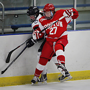Jordan Juron, Boston University, clashes with Rebecca Lindblad, UConn, during the UConn Vs Boston University, Women's Ice Hockey game at Mark Edward Freitas Ice Forum, Storrs, Connecticut, USA. 5th December 2015. Photo Tim Clayton