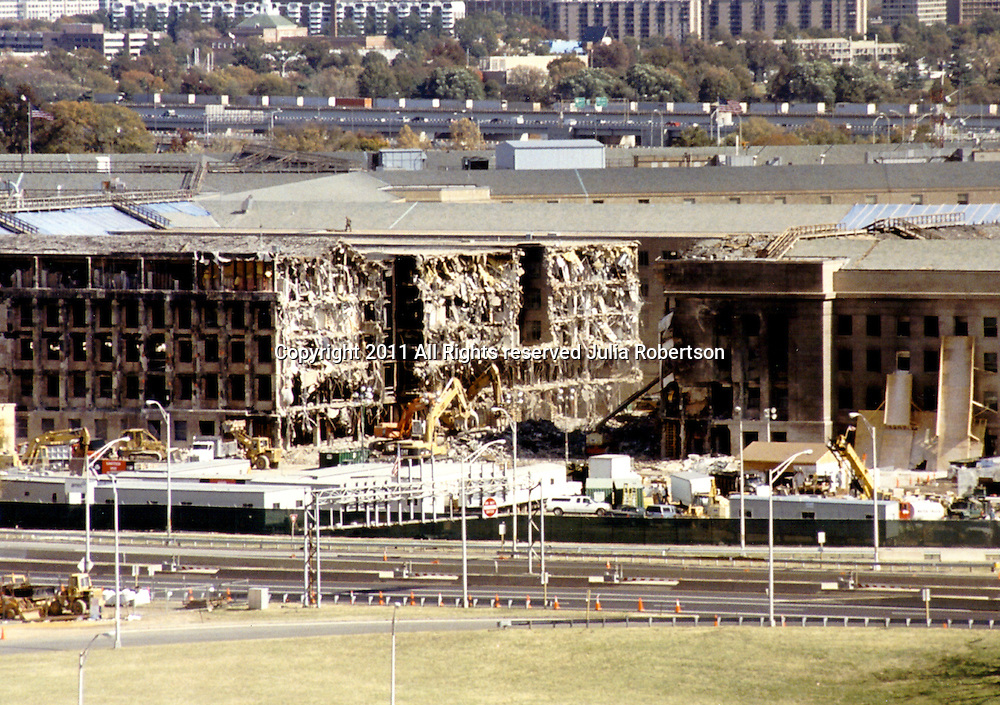 Aerial view of the Pentagon on September 21, 2001, view of where  Airplane entered pentagon.<br /> <br /> Shot from the roof of Navy Annex across street.