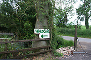 Amusing sign selling Hardcore (which is actually a type of broken up stones used in construction) in the countryside near Claydon, UK.