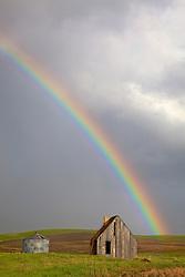 Rainbow over old homestead, Swan Valley, Idaho