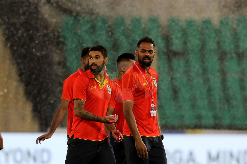 Mumbai City FC players before the start of the match 27 of the Hero Indian Super League 2018 ( ISL ) between Chennaiyin FC and Mumbai City FC  held at the Jawaharlal Nehru Stadium, Chennai, India on the 3rd November 2018<br /> <br /> Photo by: Vipin Pawar /SPORTZPICS for ISL