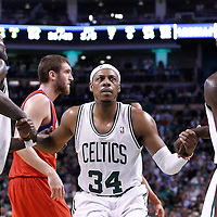 21 May 2012: Boston Celtics power forward Kevin Garnett (5) and Boston Celtics power forward Brandon Bass (30) help Boston Celtics small forward Paul Pierce (34) to stand up during the Boston Celtics 101-85 victory over the Philadelphia Sixer, in Game 5 of the Eastern Conference semifinals playoff series, at the TD Banknorth Garden, Boston, Massachusetts, USA.