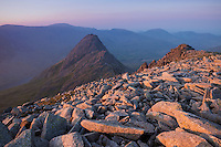 Sunset over Tryfan from summit of Glyder Fach, Snowdonia national park, Wales