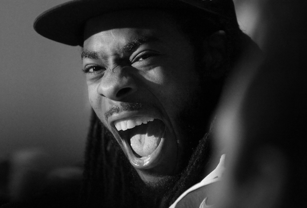 Seahawks Richard Sherman laughs as he answers questions during a media session in Jersey City. The Broncos will face the Seahawks in the Super Bowl on Sunday.   1/29/14 (John O'Boyle/The Star-Ledger)