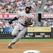 NEW YORK, NEW YORK - July 10: Jackie Bradley Jr. #25 of the Boston Red Sox rounds third base to score a run in the fourth inning during the Boston Red Sox Vs New York Yankees regular season MLB game at Yankee Stadium on July 10, 2016 in New York City. (Photo by Tim Clayton/Corbis via Getty Images)