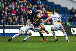 Matt Cox of Worcester Warriors is tackled by Sam Morley of Exeter Chiefs - Mandatory by-line: Craig Thomas/JMP - 27/01/2018 - RUGBY - Sixways Stadium - Worcester, England - Worcester Warriors v Exeter Chiefs - Anglo Welsh Cup