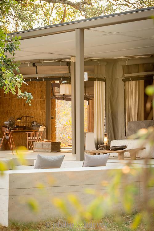 Villa at Chinzombo Safari Lodge. Luangwa River Valley, Zambia, Africa
