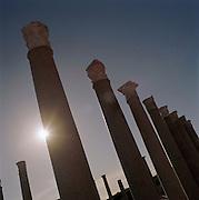 Columns at the ruined Roman city Leptis Magna, Libya