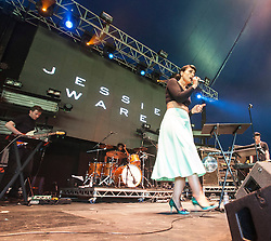 """Jessie Ware on stage on the Goldenvoice Arena. Friday at Rockness 2013, the annual music festival which took place in Scotland at Clune Farm, Dores, on the banks of Loch Ness, near Inverness in the Scottish Highlands. The festival is known as """"the most beautiful festival in the world"""" ."""
