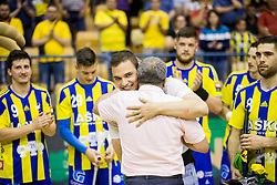 Vid Poteko of Team Celje celebrates during trophy ceremony when RK Celje Pivovarna Lasko awarded as National Champions 2017 after handball match between RK Celje Pivovarna Lasko and RK Gorenje Velenje in Last Round of 1. Liga NLB 2016/17, on June 2, 2017 in Arena Zlatorog, Celje, Slovenia. Photo by Vid Ponikvar / Sportida