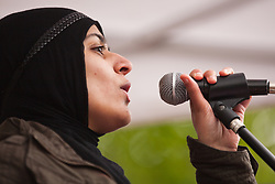 Luton, UK. 5th May, 2012. Luton student Sanum Ghafoor addresses the We Are Luton/Stop The EDL rally, organised by We Are Luton and Unite Against Fascism in protest against a march by around 3,000 supporters of the far-right English Defence League.