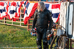 Mark Hannah at the Spirit of Sturgis antique motorcycle flat track race at the historic Sturgis Half Mile during the 78th annual Sturgis Motorcycle Rally. Sturgis, SD. USA. Monday August 6, 2018. Photography ©2018 Michael Lichter.