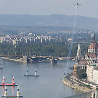 0708185346a Red Bull Air Race international air show practice runs over the river Danube, Budapest preceding the anniversary of Hungarian state foundation. Hungary. Saturday, 18. August 2007. ATTILA VOLGYI