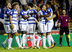Reading's Modou Barrow (third left) is congratulated by team mates after scoring his side's second goal during the Sky Bet Championship match at the Madjeski Stadium, Reading.