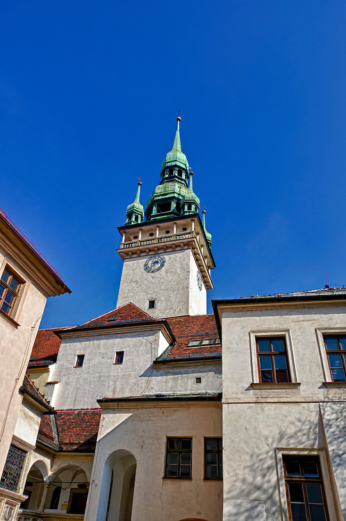 Dome and clock of tower of the Old Town Hall in Brno. This is a historic building and a very popular destination. Brno is the 2nd largest city in the Czech Republic.