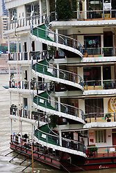 October 3, 2017 - Chongqing, Chongqing, China - Chongqing,CHINA-3rd October 2017: (EDITORIAL USE ONLY. CHINA OUT) Spiral stairs of a restaurant on a boat in southwest China's Chongqing. (Credit Image: © SIPA Asia via ZUMA Wire)