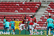 Middlesbrough defender Grant Hall (4) heads over the bar during the EFL Sky Bet Championship match between Middlesbrough and Bournemouth at the Riverside Stadium, Middlesbrough, England on 19 September 2020.