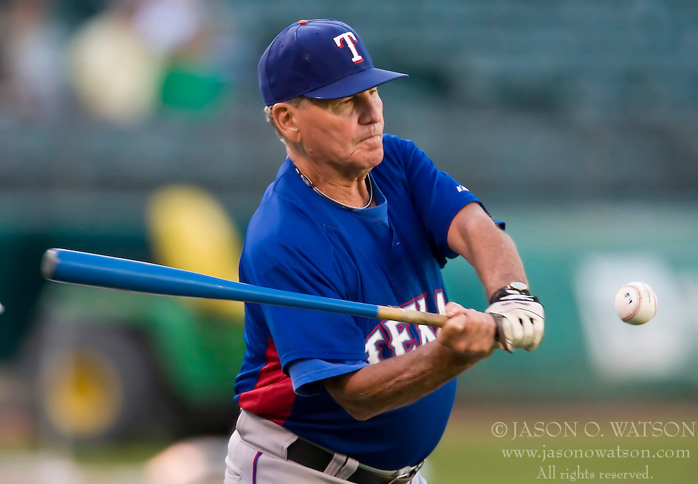 September 22, 2009; Oakland, CA, USA;  Texas Rangers bench coach Jackie Moore (4) before the game against the Oakland Athletics at Oakland-Alameda County Coliseum. Oakland defeated Texas 9-1.