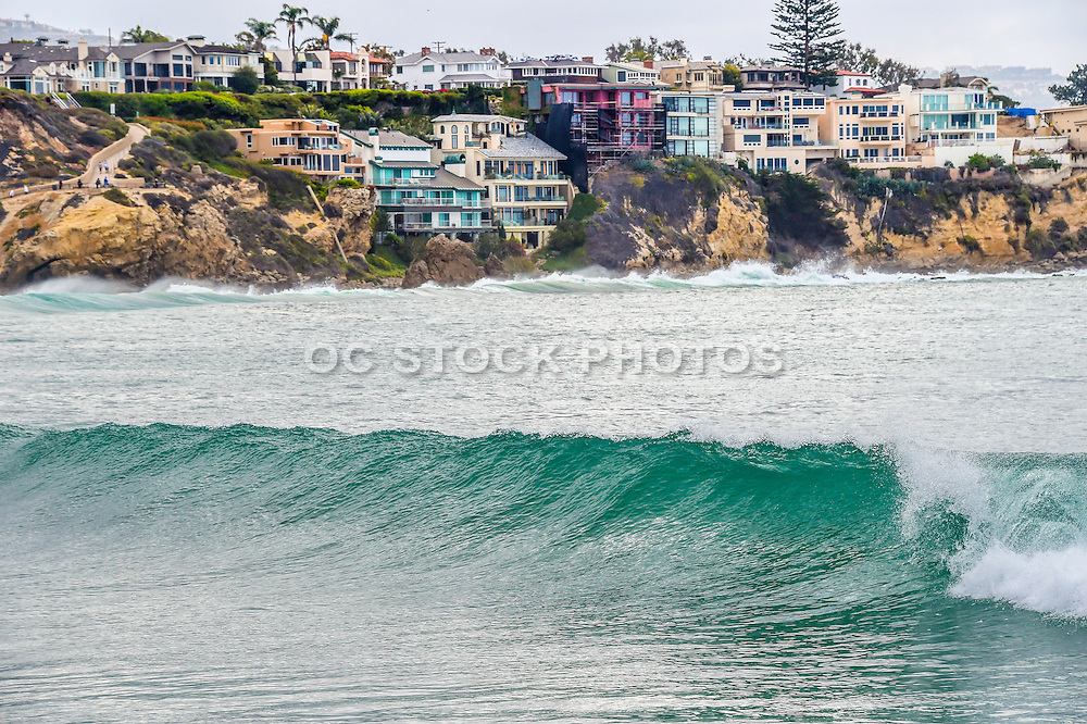 High Tide in Front of these Waterfront Homes in Corona Del Mar of Newport Beach