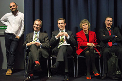 © Licensed to London News Pictures . 05/02/2016 . Manchester , UK . Waiting at the back of the auditorium , NIGEL FARAGE MEP , TOM PURSGLOVE MP , KATE HOEY MP . Grassroots Out , anti-EU membership campaign event , at the Manchester Central Convention Centre . Photo credit : Joel Goodman/LNP