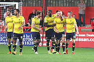Oxford United forward Ryan Taylor celebrates with team mates after his goal during the Sky Bet League 2 match between Stevenage and Oxford United at the Lamex Stadium, Stevenage, England on 31 October 2015. Photo by Jemma Phillips.