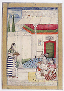 Album of Ragamala.  Servant brings refreshment to lovers on terrace by pavilion. Bow and arrow held by man are symbols of Kama, god of  love.  19th century Indian miniature, Rajasthan School.