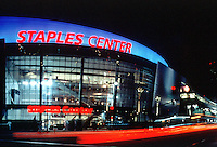 Jun 01, 1999: Exterior Overview of the Los Angeles Staples Center Arena under final phase of construction.  Home for the NHL Los Angeles Kings and the NBA Los Angeles Lakers and other various special events and concerts.  General overview at night of sports landmark in California. .