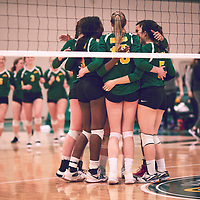 Celebrations during the Women's Volleyball home game on Sat Jan 26 at Centre for Kinesiology, Health & Sport. Credit: Arthur Ward/Arthur Images