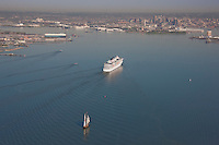Aerial photo of Carnival Pride on inaugural voyage to Baltimore with Pride of Baltimore behind