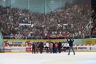 Rapperswils Spieler und Fans jubeln nach dem Playout Spiel der National League A zwischen den Rapperswil-Jona Lakers und dem EHC Biel, am Samstag, 05. April 2014, in der Diners Club Arena Rapperswil-Jona. (Thomas Oswald)
