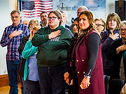 27 APRIL 2019 - STUART, IOWA: People say the Pledge of Allegiance at the start of the Reaching Rural Voters Forum in Stuart. The forum was an outreach by Democrats in Iowa's 3rd Congressional District to mobilize Democratic voters statewide. Iowa saw one of the largest shifts from Democrats to Republicans in the 2016 Presidential election and Trump won the state by double digits. Republicans control the governor's office and both chambers of the Iowa legislature. Iowa traditionally hosts the the first selection event of the presidential election cycle. The Iowa Caucuses will be on Feb. 3, 2020.                               PHOTO BY JACK KURTZ