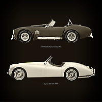 For the lover of old classic cars, this combination of a Ford AC Shelby 427 Cobra 1965 and Jaguar XK-120 1954 is truly a beautiful work to have in your home.<br /> The classic Ford AC Shelby 427 Cobra and the beautiful Jaguar XK-120 are among the most beautiful cars ever built.<br /> You can have this work printed in various materials and without loss of quality in all formats.<br /> For the oldtimer enthusiast, the series by the artist Jan Keteleer is a dream come true. The artist has made a fine selection of the very finest cars which he has meticulously painted down to the smallest detail. – –<br /> -<br /> <br /> BUY THIS PRINT AT<br /> <br /> FINE ART AMERICA<br /> ENGLISH<br /> https://janke.pixels.com/featured/ford-ac-shelby-427-cobra-1965-and-jaguar-xk-120-1954-jan-keteleer.html<br /> <br /> WADM / OH MY PRINTS<br /> DUTCH / FRENCH / GERMAN<br /> https://www.werkaandemuur.nl/nl/shopwerk/Ford-AC-Shelby-427-Cobra-1965-en-Jaguar-XK-120-1954/756062/132?mediumId=1&size=60x60<br /> –