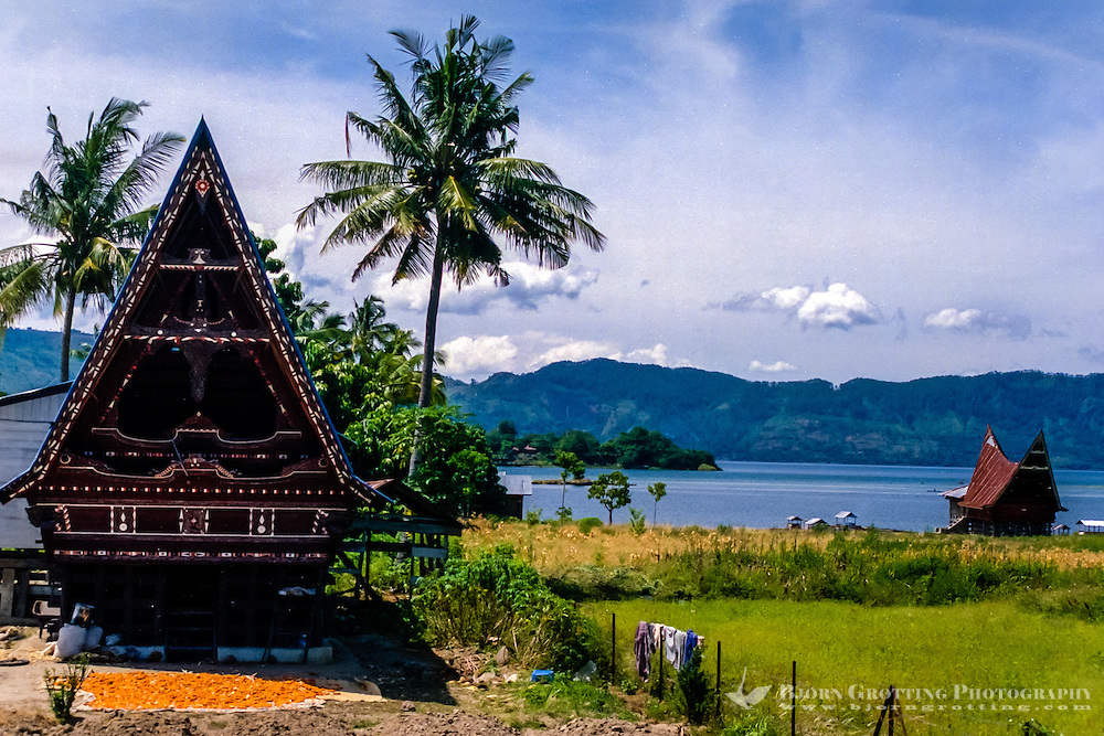 Indonesia, Sumatra. Samosir. A Batak house is built on stilts, made of wood (without nails) and roofed with sugar palm fibre, or unfortunately today more often rusting corrugated iron. The style vary from region to region, but the basics are the same.