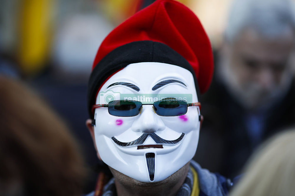 January 30, 2018 - Barcelona, Catalonia, Spain - January 30, 2017 - Barcelona, Spain - Catalan Parliament investment; V mask during the manifestation around of catal‡n parliament. (Credit Image: © Eric Alonso via ZUMA Wire)
