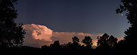Distant Thunderstorm at Dusk. Composite of 5 images taken with a Leica CL camera and 23 mm f/2 lens (ISO 1600, 24 mm, f/2, 1/50 sec). Raw images processed with Capture One Pro, and the composite created using AutoPano Giga Pro.